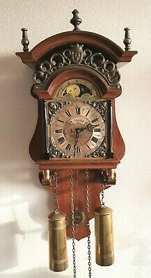 Warmink Sallander Wall Clock Dutch Vintage Nut Wood Bell Strike Moonphase