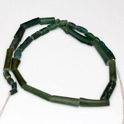 Stunning Egyptian Green Glass Stones Necklace Circa 100 Bc-Ad