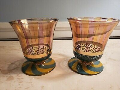 Mackenzie Childs Circus Painted Goblet Cup Vintage Limited Edition Striped 2 Avl