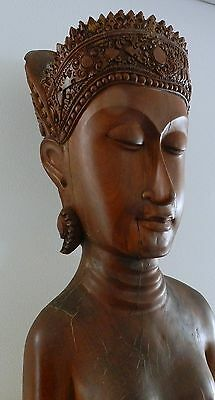 Southeast Asia :  Old & Large Wooden Female Bust - Apsara - Beautiful