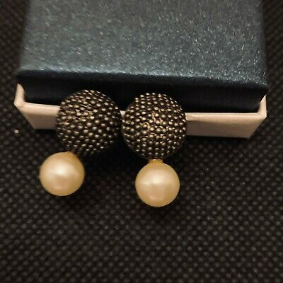 Vintage Small Pearl and Metal Stud Earrings in Silver and Black
