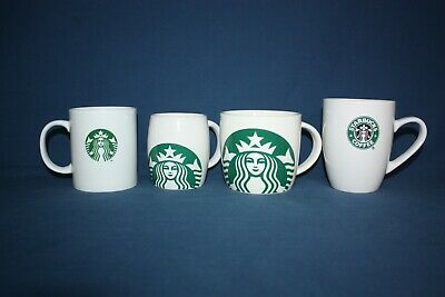 4 Starbucks Coffee Company White Mugs Green Mermaid Logo Four Different Cups
