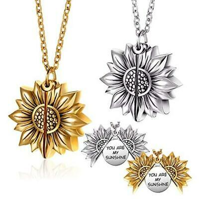 You are My Sunshine Locket Necklace Sunflower Engraved Open Locket Pendant Chain