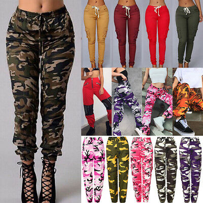 Women Cargo Jogging Trousers Lady Camo Military Army Combat Casual Outdoor Pants