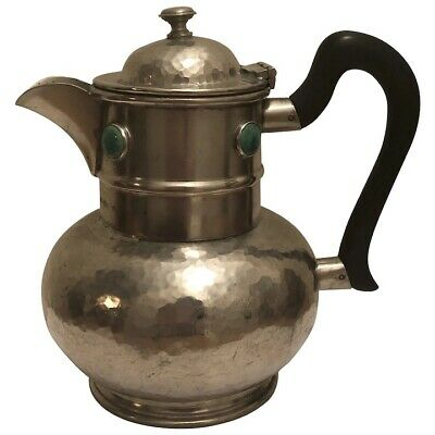 Vintage Arts & Crafts Ashberry Pewter Ruskin? Pottery Hammered Coffee? Tea? Pot