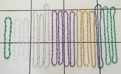 Lot of 16 Mardi Gras Necklaces Twist/Tooth Throw Beads Assorted Colors & Sizes