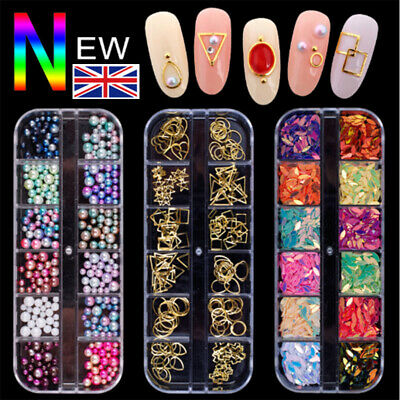 Nail Art Rhinestones Crystals Gems Beads Charms Pearl Glitter 3D Sequins Foil UK