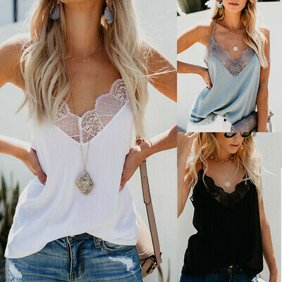 Women Strappy V-Neck Solid Cami Tops Shirt Summer Lace Casual Blouse Camisole UK