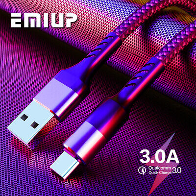 1/2/3M 3A USB-C Charger Charging Type C Cable For Samsung S10 9 Note 9 LG Switch
