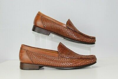 Allen Edmonds Roma Size 8.5 D Brown Woven Mens Slip on Loafers Dress Shoe Italy