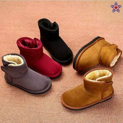 Kids Ankle Boots Boys Girls Martin Shoes Winter Warm Lace Up Fur Lined Shoes New