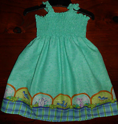 SZ 1 GREEN or RED (choices) COTTON SHIRRED TOP DRESS  NEW HANDMADE IN AUSTRALIA