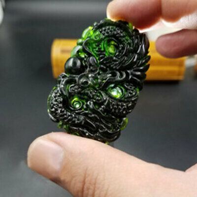Chinese Natural Black Green Dark Jade Pendant Hand Carved Lucky Amulet Dragon
