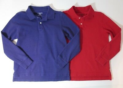 Lands' End Kids Boys Size 8 Long Sleeve Mesh Polo Shirts Purple Red