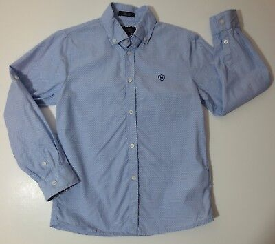 Mayoral Collection Boys Slim Fit Sz 7 Long Sleeve Button Shirt Blue Lime Green