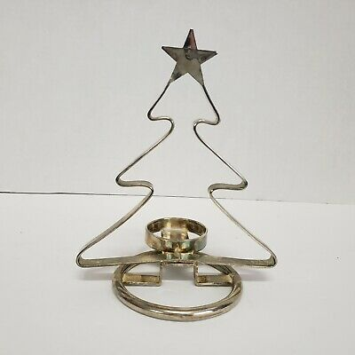 Silverplate Holiday Christmas tree shaped Votive Candle Holder 7 inch