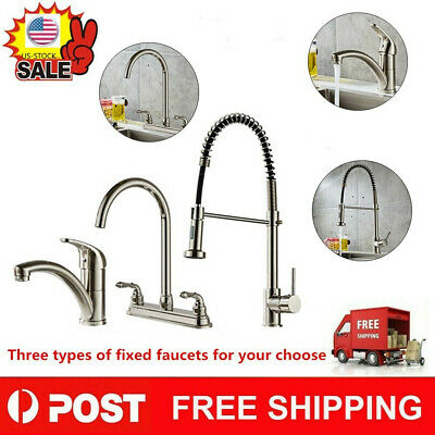 Stainless Steel 2 Handle Kitchen Fixed Faucet Double Hole Household Sink Faucet#