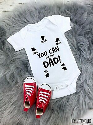 You Can Do It Dad Daddy Instruction Funny Baby Grow Bodysuit Babygrow Vest Gift