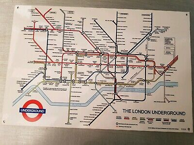"London Underground  Map Metal Sign .. 12"" x 18""."