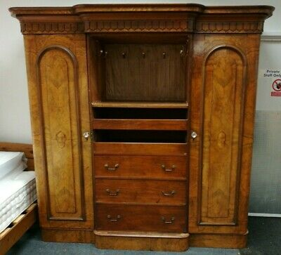 Antique VICTORIAN Hand Carved Walnut Breakfront Double Wardrobe Armoire - CS E26