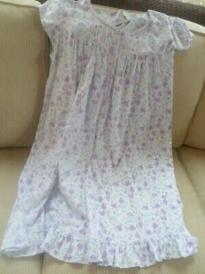Eileen West White w/ Purple Floral Cotton Knit Gown M NWT