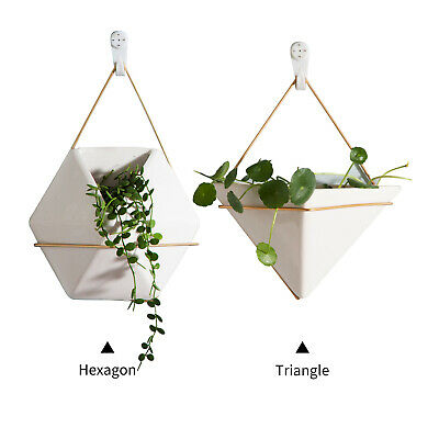 Plant Flower Pot Holder Indoor Hanging Planter Geometric Wall Succulents X2A7