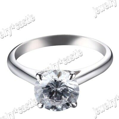 Round Cut Cubic Zirconia Solid 14K White Gold Lady Engagement Wedding Fine Ring