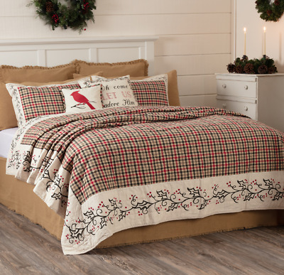 HOLLY & IVY 105x95 King QUILT : RED GREEN PLAID CHRISTMAS BERRIES HOLLIS