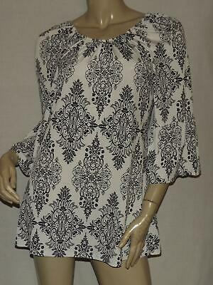 Womens Peasant Shirt Size Small MOA Black White Paisley Jersey Bell Sleeves