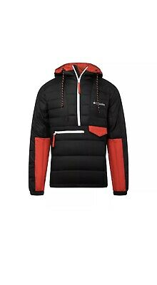 Columbia 1801171013 Men's Black/Red Norwester Anorak II Size X-Large