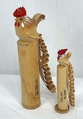Vintage Japanese Hand Carved Wood Roosters