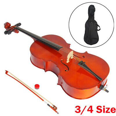 3/4 Size Beginner Student Pro Basswood Acoustic Cello With Bag Bow Rosin Bridge