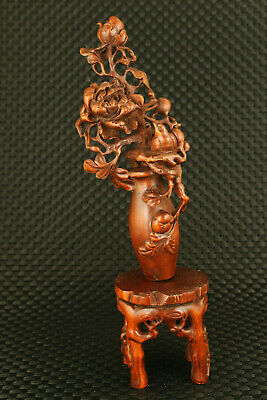 old China boxwood hand carved flower bird stool statue precious home decor gift