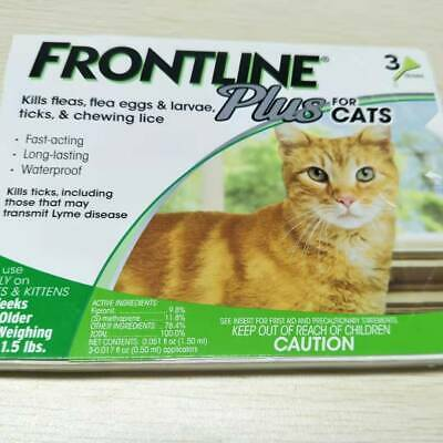 Frontline Plus for Cats and Kittens over 1.5 Ibs Flea and Tick Treatment 3 Doses