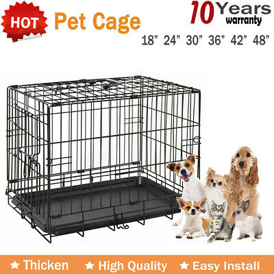 Pet Cages Metal Dog Cat Puppy Training Folding Crate Animal Transport & Tray