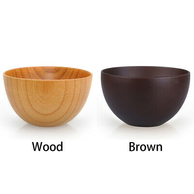 Japanese Wooden Bowl Round Soup Rice Cereal Food Serving Wood Dinnerware Vintage