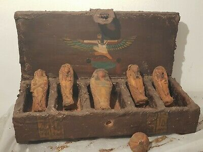 Rare Antique Ancient Egyptian Wooden Ushabti Box 5 Ushabti Servant 1830-1760BC