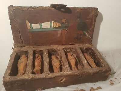Rare Antique Ancient Egyptian Wooden Ushabti Box 5 Ushabti Servant 1670-1580BC