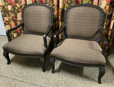 Pair Of Walter E Smithe Elegant Empire Back Upholstered Arm Chairs