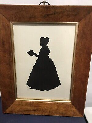 Framed Vintage Portrait Silhouette Profile Picture of a  Lady Reading