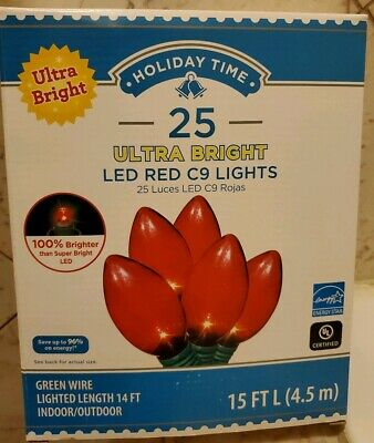 Holiday Time 25 Ultra Bright LED Cool White C9 Lights