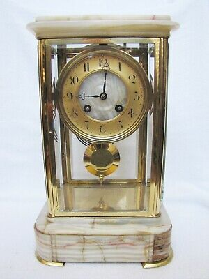 Antique French AD Mougin Onyx & Brass Crystal Regulator Clock