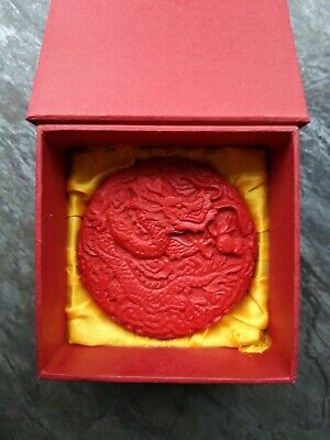Chinese Carved Red Lacquerware lacquer box jewellery 2 dragon