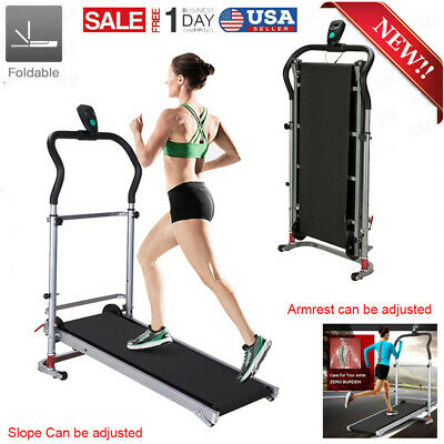 Home Gym Manual Treadmill Walking Machine Working Run Cardio Workout Foldable