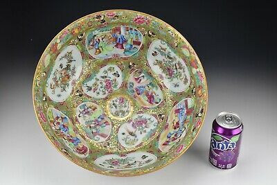 Early Chinese Rose Medallion Porcelain Punch Bowl Mandarin Figures & Objects