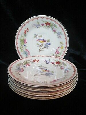 Syracuse China Old Ivory Bombay Opco Bird Floral 6 Bread & Butter Plates 6 1/4""