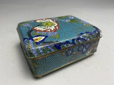 Antique Chinese Cloisonne Turquoise Cigarette Box