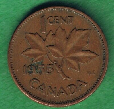 1955 Canada Canadian Elizabeth II One Cent Penny Coin Circulated