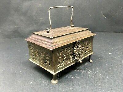 Ancient Old Bronze Hand Carving Floral Islamic Powder Makeup Mirror Box With Leg