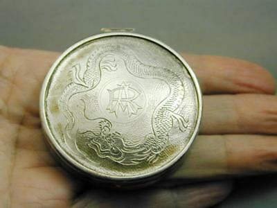 Antique Chinese Export Silver Zee Sung Compact Pill Box Snuff Box Dragon